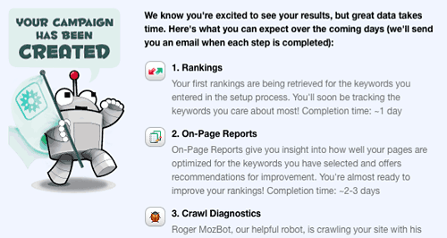 SEOMoz's RogerBot will begin crawling your site