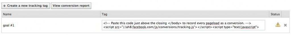 Facebook Conversion Tracking Code