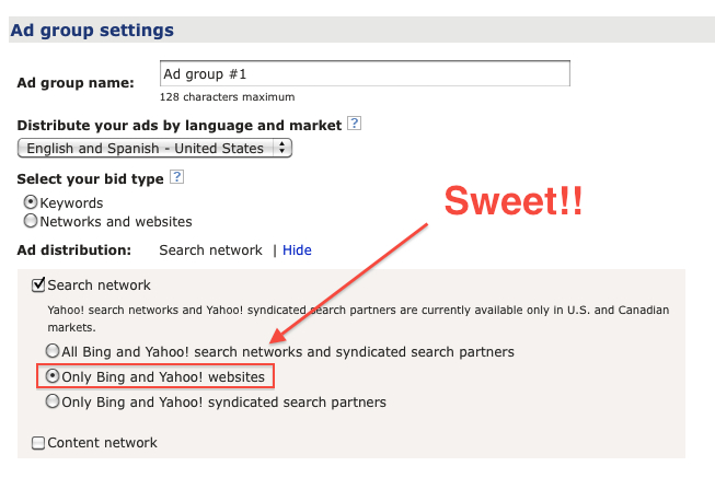 Bing Core Search Traffic Selection