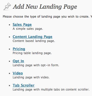 Premise Landing Page Types